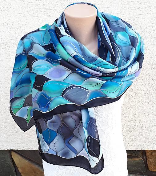 Vlny-hodvábny maľovaný šál v chladivých odtieňoch