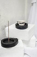 Nádoby - SET mini podnos na šálku + držiak na vonnú tyčinku - 13235406_