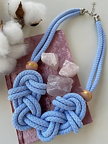 Náhrdelníky - Nebesky modré uzly s malovanými korálky - 13235065_