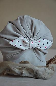 Čiapky - Čiapka turban- VÝPREDAJ (Šedá) - 13236802_