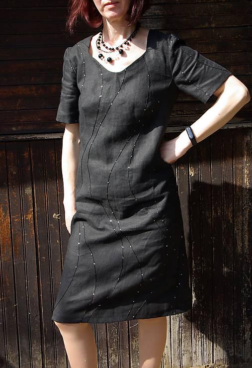 Šaty - Čierne ľanové šaty - 13237233_