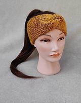 Ozdoby do vlasov - Dámska pletená čelenka (horčicový melír) - nový vzor - 13237409_