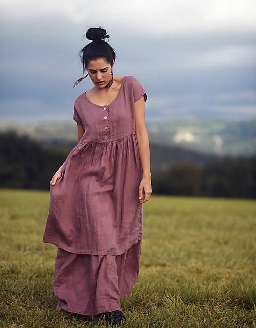 Šaty - Lněné šaty se zapínáním Roses séchées - 13237600_