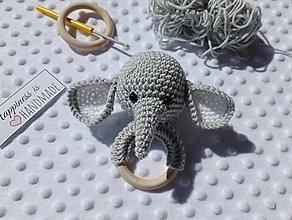 Hračky - Háčkovaný sloník - šedý - 13239089_