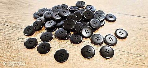 Galantéria - Plastový gombík 20 mm - čierny - 13240657_