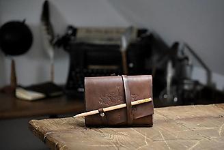 Papiernictvo - kožený midori zápisník KARIM - 13238667_