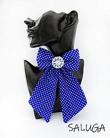 Odznaky/Brošne - Dámsky motýlik - luxusný - kráľovsky modrý - bodkovaný - brošňa - 13239158_