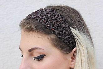 Ozdoby do vlasov - Makrame čelenka s drevenými korálkami - 13238350_