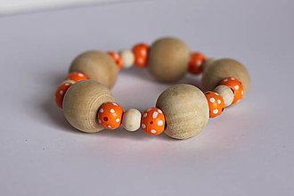 Náramky - Maľovaný drevený náramok oranžový puntíkový - 13238735_