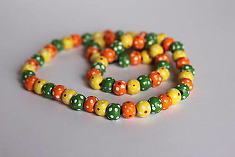 Detské doplnky - Detský bodkovaný drevený náhrdelník - 13238941_