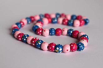 Detské doplnky - Detský pestrofarebný drevený náhrdelnik - 13238980_