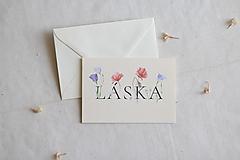 Papiernictvo - Láskavý pozdrav Láska | botanická ilustrácia maku vlčieho a lisianthus - 13238704_