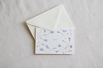 Papiernictvo - Pozdrav s láskou   botanická ilustrácia Zvonček - 13238701_