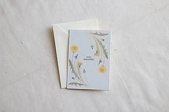 Papiernictvo - Narodeninová pohľadnica   botanická ilustrácia Púpava - 13238712_