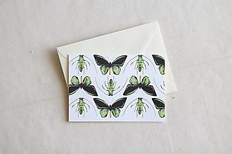 Papiernictvo - Akvarelová pohľadnica   ilustrácia Motýle a chrobáčiky - 13238721_