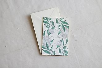 Papiernictvo - Svadobná pohľadnica Pán a Pani   akvarelová botanická ilustrácia pivónie - 13238727_