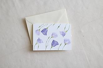 Papiernictvo - Akvarelová pohľadnica   botanická ilustrácia Lisianthus - 13238758_