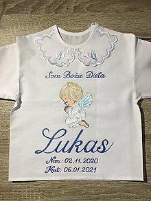 Detské oblečenie - Košielka na krst - anjelik - tmavomodrá - 13239140_