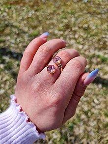 Prstene - Duo Swarovski Element v ružovom zlate - 13240047_