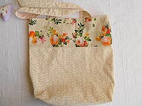 Nákupné tašky - Taška s ružičkami a bielymi vetvičkami - 13240625_