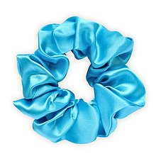 Ozdoby do vlasov - Saténová scrunchie | CLASSIC (Azure (modrá)) - 13239964_