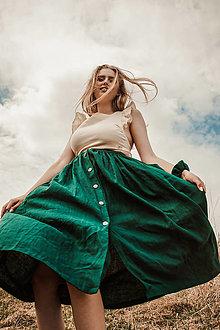 Sukne - Ľanová sukňa s veľkými vreckami - 13241939_