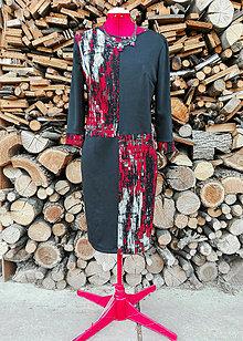 Šaty - Úpletové šaty - čierno-červené - 13241239_