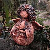 Dekorácie - Andělka jarní s ptáčkem - 13246148_