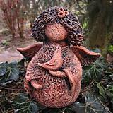 Dekorácie - Andělka jarní s ptáčkem - 13246149_