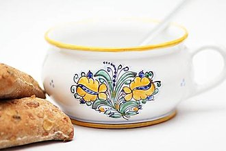 Nádoby - Starodávna miska na polievku s habánskym dekórom - 13244408_