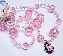 Náhrdelníky - Náhrdelník srdce -ružové - 13242507_