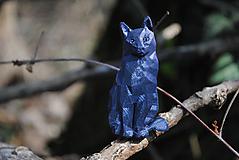 Brošne - Sediaca mačka tmavomodrá - 13244939_