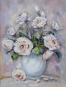 Obrazy - Bledé ruže - 13243664_