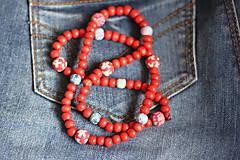Náhrdelníky - Červený drevený náhrdelník - 13244108_
