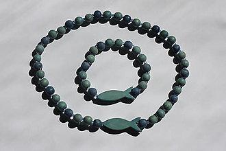 Detské doplnky - Detský modrý náhrdelník plus náramok s rybičkami - 13244339_