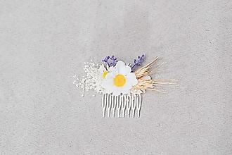 """Ozdoby do vlasov - Kvetinový hrebienok """"svitanie v lupeňoch margarétky"""" - 13244812_"""