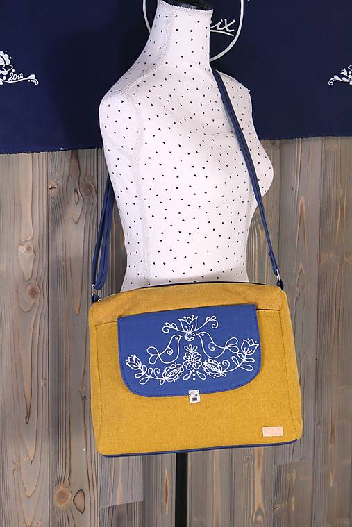 modrotlačová kabelka Melinda žltá AM