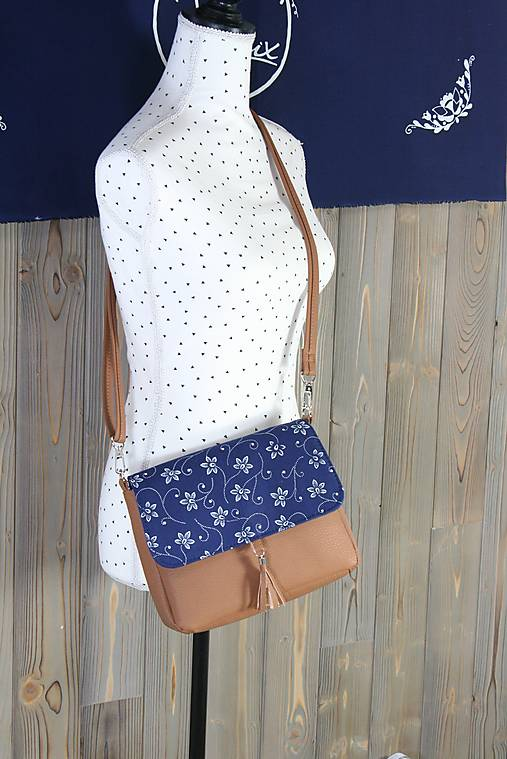Modrotlačová kabelka Eliška hnedá 2