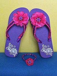 Obuv - Plážová letná súprava - fialová IV - 13245087_