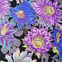 Textil - Bavlnená látka Cactus Flower - Black by Kaffe Fassett - 13248144_