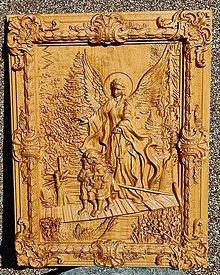 Dekorácie - Drevorezba Anjel strážca detí. - 13247826_
