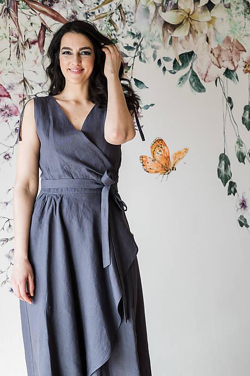 Šaty - Ľanové zavinovacie šaty (VIAC FARIEB) - 13248535_