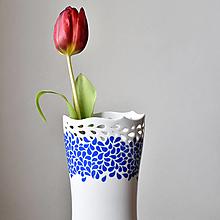 """Dekorácie - """"Flow"""" porcelánová váza modrá - 13249667_"""