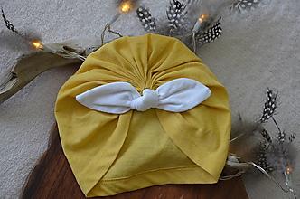 Čiapky - Čiapka turban- VÝPREDAJ (Žltá horčica) - 13248074_