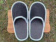 Obuv - Veľké šedé papuče s belasým lemom - 13246525_