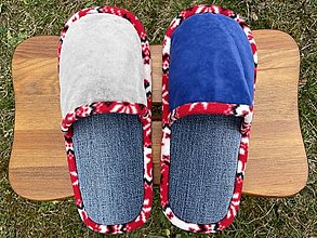 Obuv - Riflové papuče s dvojfarebným vrchom - 13246562_