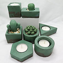 Dekorácie - Kvetináč s betónovým kaktusom/svietnik 4 živly Zem - 13248200_