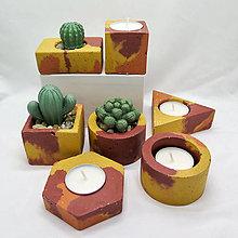 Svietidlá a sviečky - Kvetináč s betónovým kaktusom/svietnik 4 živly Oheň - 13248291_