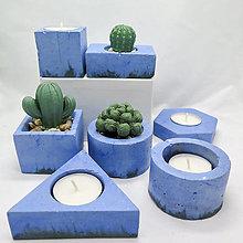 Dekorácie - Kvetináč s betónovým kaktusom/svietnik 4 živly Voda - 13248319_