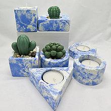 Nádoby - Kvetináč s betónovým kaktusom/svietnik 4 živly Vzduch - 13248343_